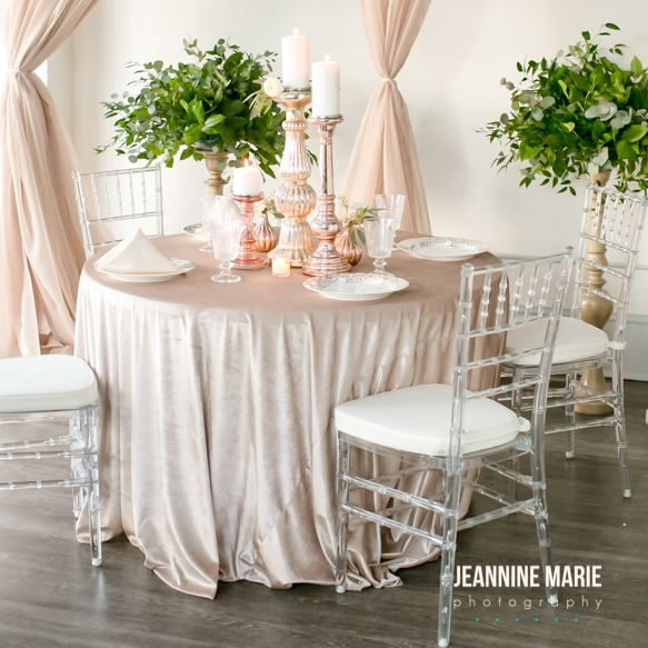 sweetheart table with velvet linen and blush mercury glass candlestick decor
