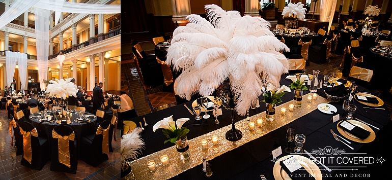 Wedding at the landmark center with Minnesota decor rentals. This look has gold sequin table runners, black candleabras, linens, and chaircovers with a gold sash tied kimono style.