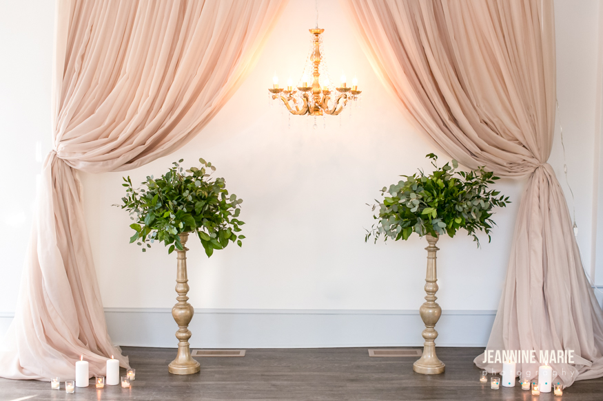 Wedding backdrop curtains with hanging gold chandelier