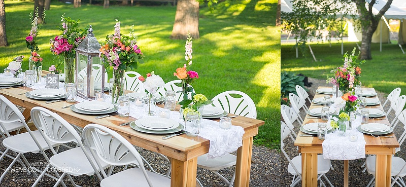 Simple and colorful outdoor wedding table idea with flowers, lanterns and table runners.