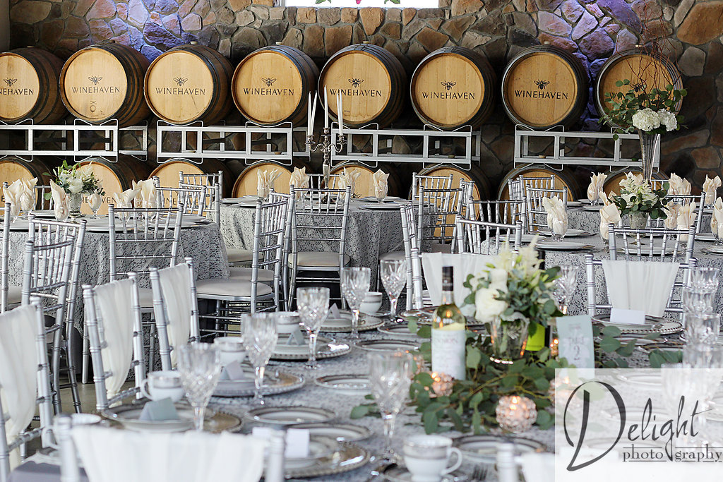 Reception decor featuring chargers, linens, chivari chairs and more
