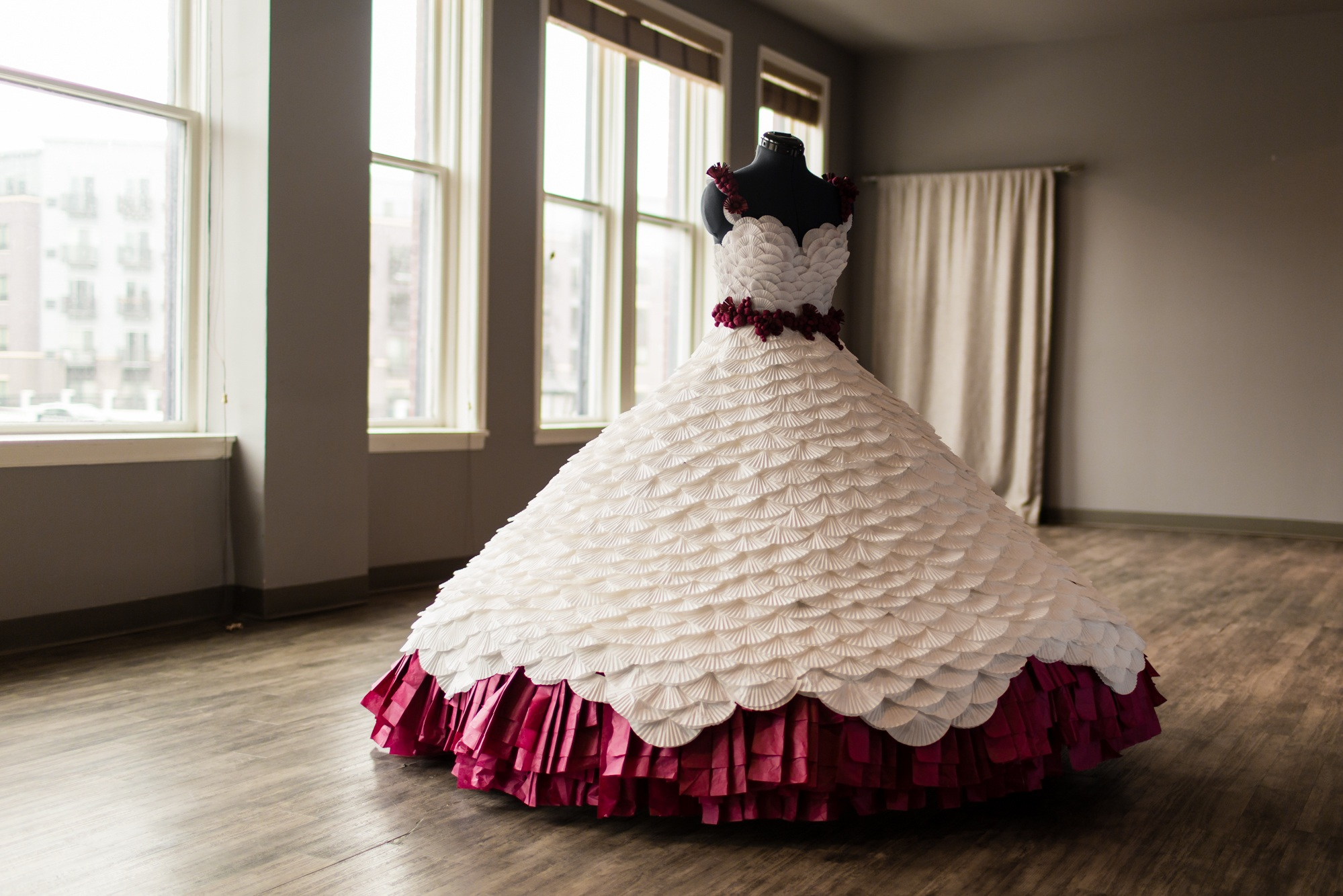 Burgundy and White Paper Wedding dress