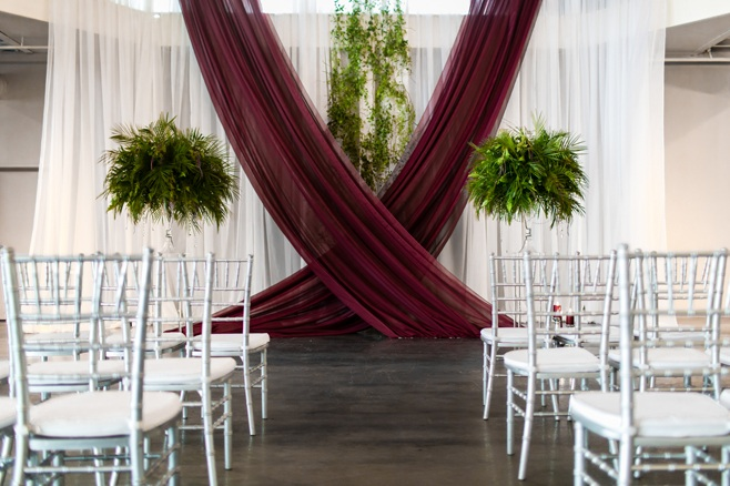 burgundy and white backdrop design for wedding ceremony in Minnesota