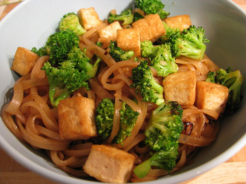 Thai Curry Noodles with Tofu and Broccoli