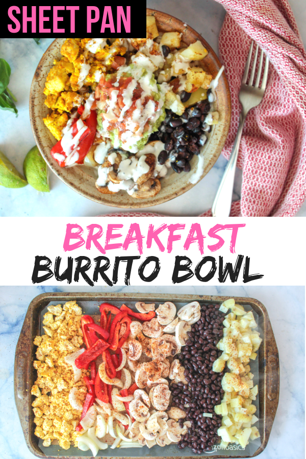 Easy vegan sheet pan breakfast burrito bowl. No need to get a bunch of pots and pans messy, just cook everything on a sheet pan and you've got a delicious, healthy, easy vegan breakfast ready to go for the whole week. #veganbreakfast #veganrecipe https://mariamusicmunchies.com/blog/2018/12/3/sheet-pan-vegan-breakfast-burrito-bowl-easy-protein-packed