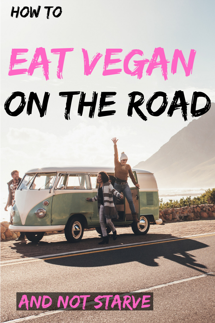 Tips for how to eat vegan while traveling. Once you learn these tips and tricks, eating vegan on the road becomes a breeze! #vegan #travel #roadtrip #vegantravel www.musicandmunchiesblog.com