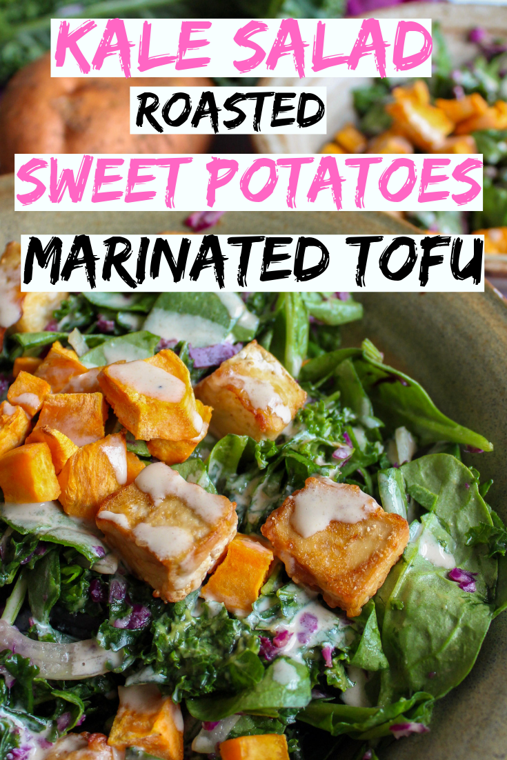 Hearty, delicious kale salad with roasted sweet potatoes and marinated tofu. Quick tahini dressing. Very easy to make, satisfying and absolutely delicious. Healthy, filling lunch or dinner. Vegan, gluten free and dairy free. #healthy #vegan #glutenfree #lunch #easyrecipe www.musicandmunchiesblog.com