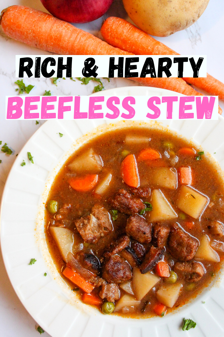 omforting vegan beefless stew with a rich and savory broth. This stew is hearty, satisfying and delicious and will warm you up on the coldest of days. Easy to make and full of layers of flavor. How to make a vegan stew. How to make a vegan beef stew. Perfect vegan comfort food on a chilly day. Can be made gluten free. #veganstew #vegansoup #beefstew #beeflessstew #veganbeef #seitan #comfortfoods #potatoes www.damntastyvegan.com