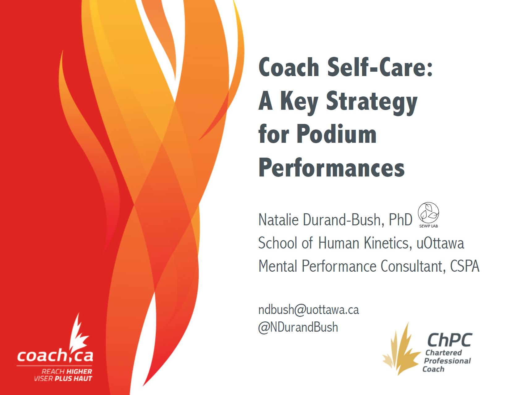 Dr.   Natalie Durand-Bush develops a webinar to help coaches prevent burnout