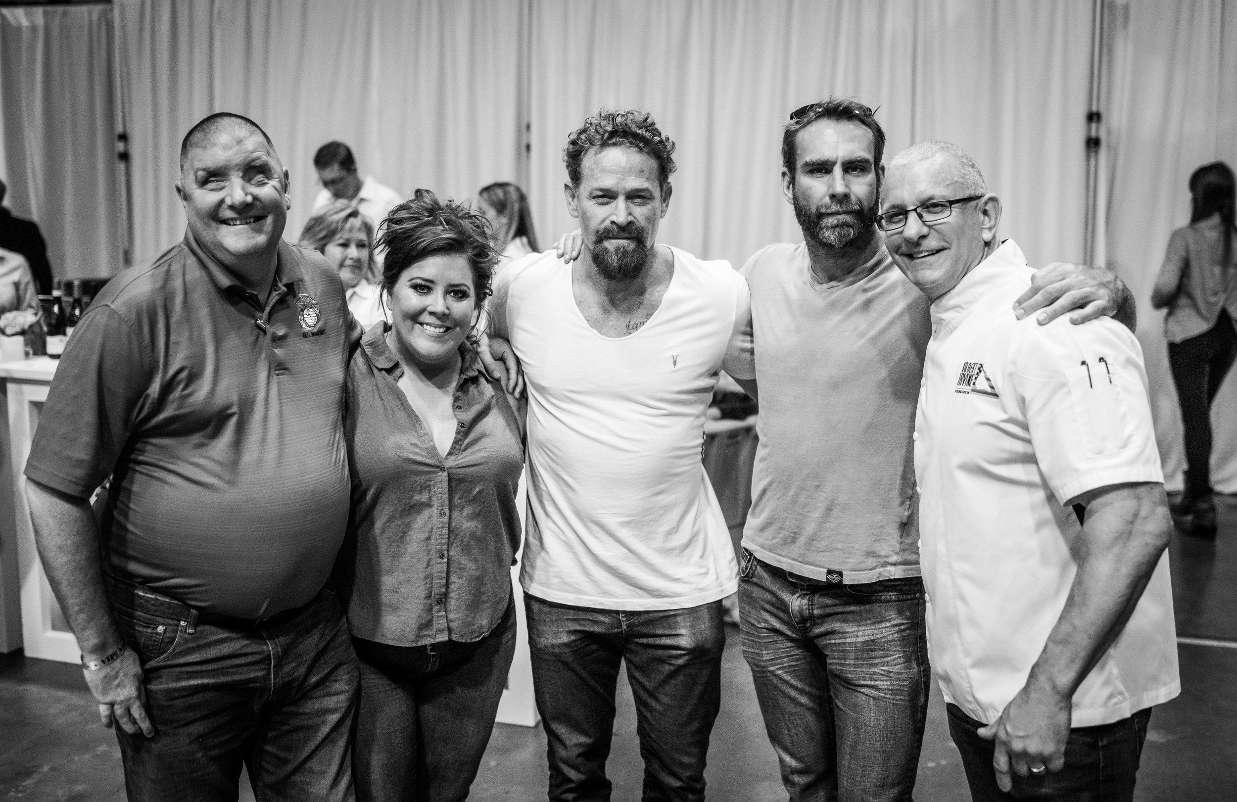 Michael, Kim, Max Martini (13 hours), David Brandon (former Navy SEAL, actor), and Robert Irvine (Chef) at Skyball.