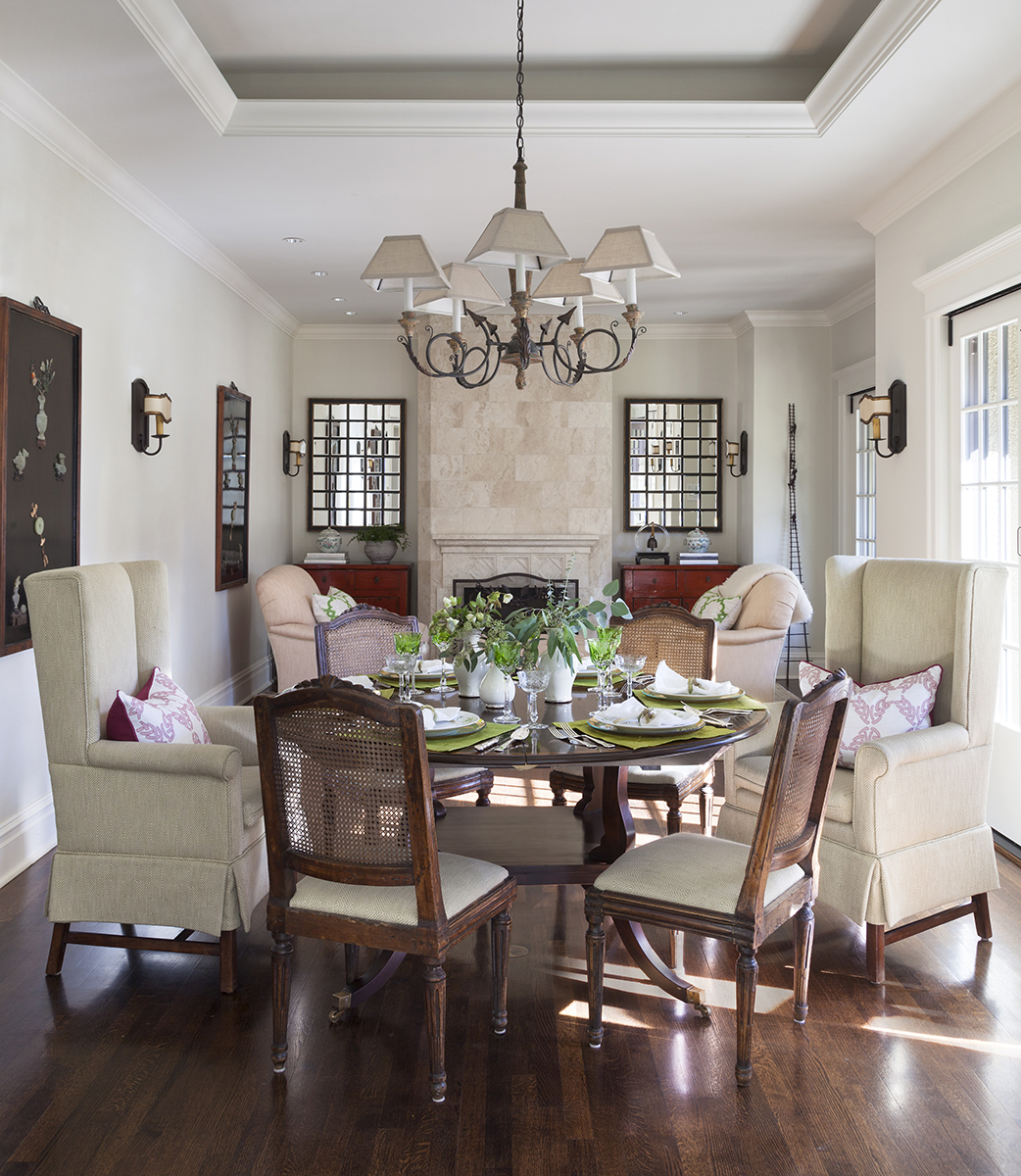 traditional interior design breakfast table and family room