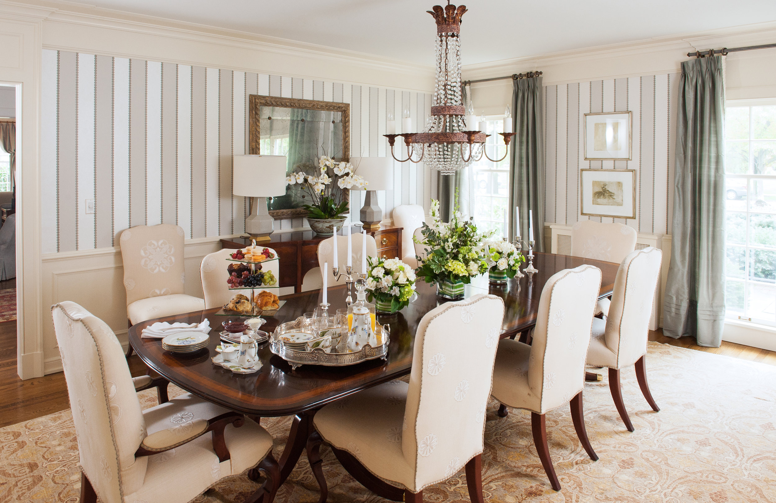 traditional interior design dining room striped wall covering