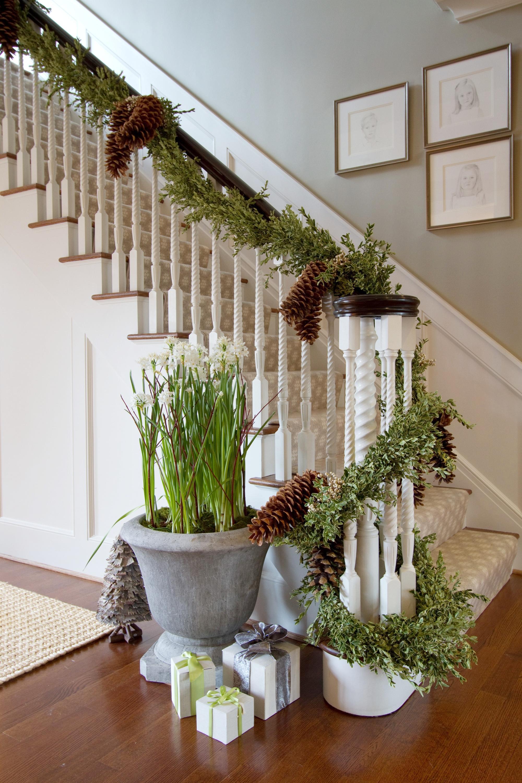 traditional interior design staircase winter decor