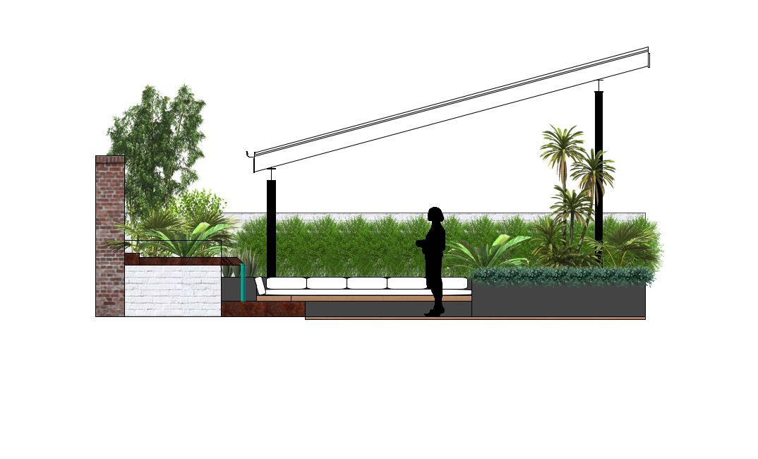 A modern alfresco with a steel water channel, rendered brick raised planters, inbuilt seating and textured grey and green hued plantings.