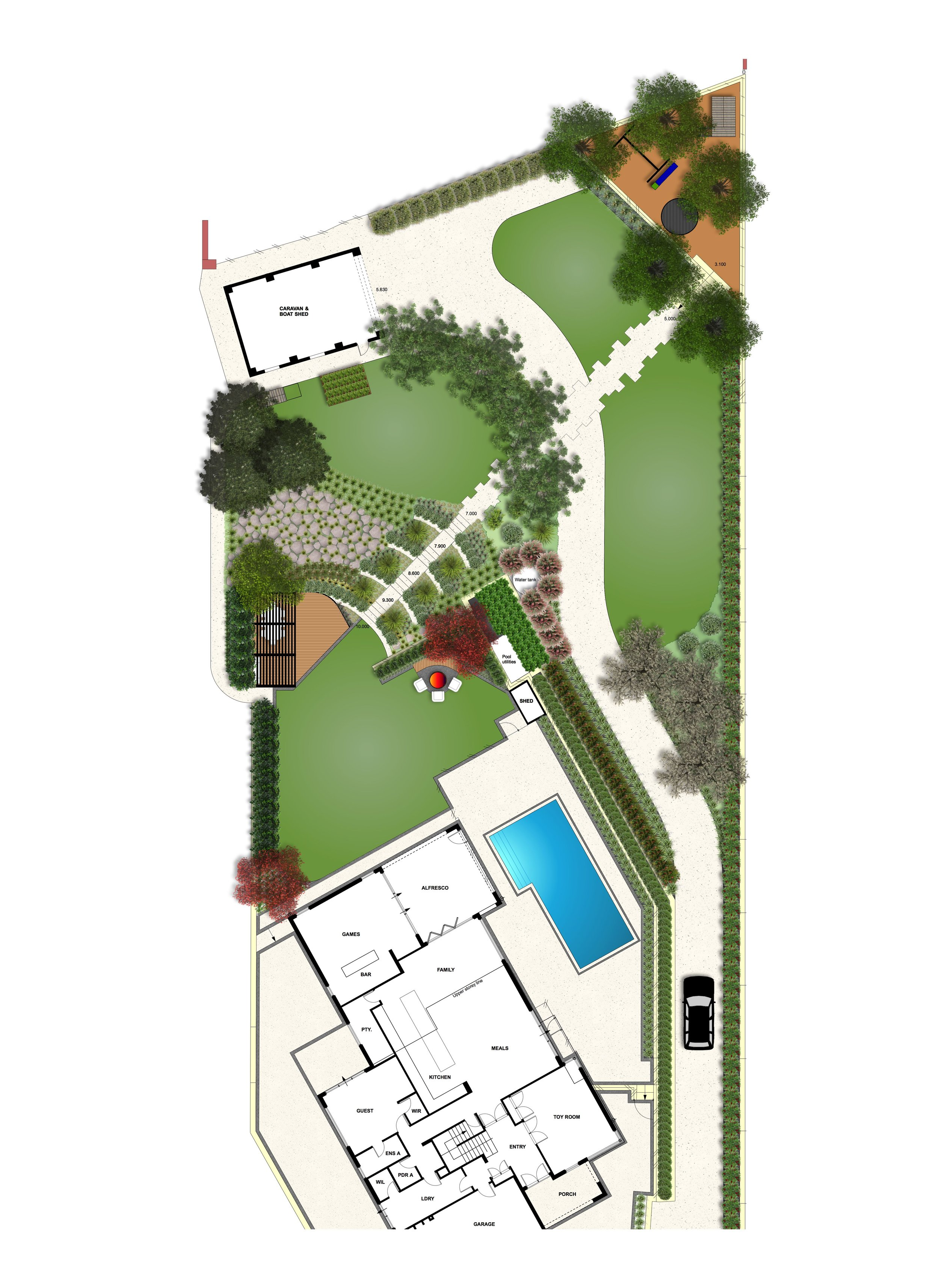 A Perth Hills site including a timber deck, pergola, fire pit, rustic rock pitching and limestone steps. Productive gardens, a children's play space and water-wise native plantings are also featured.