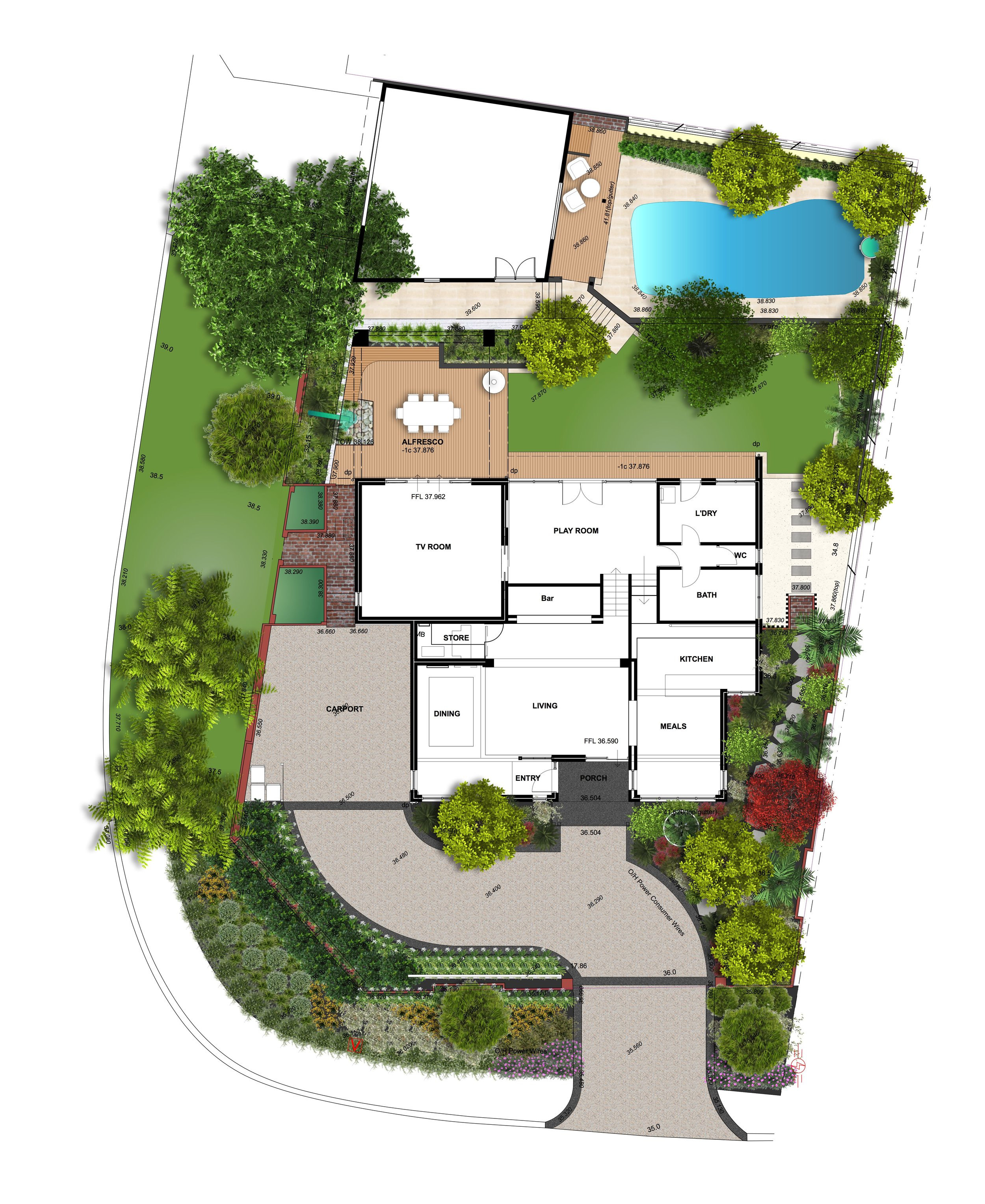 Water-wise verge plantings, a curved driveway, an inviting entry garden, a new alfresco with water feature, daybed, raised planters and lush poolside plantings complete this garden makeover.