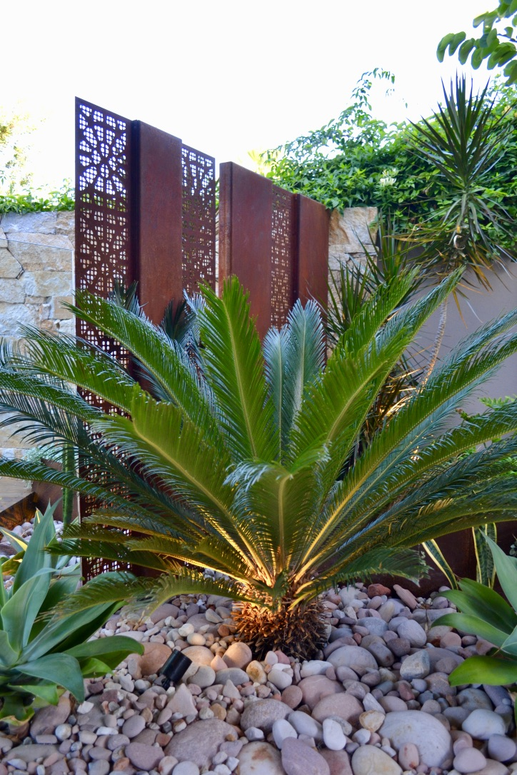 A central sago palm lit from below with bordering agaves, river stones and an angled corten steel pool screen.