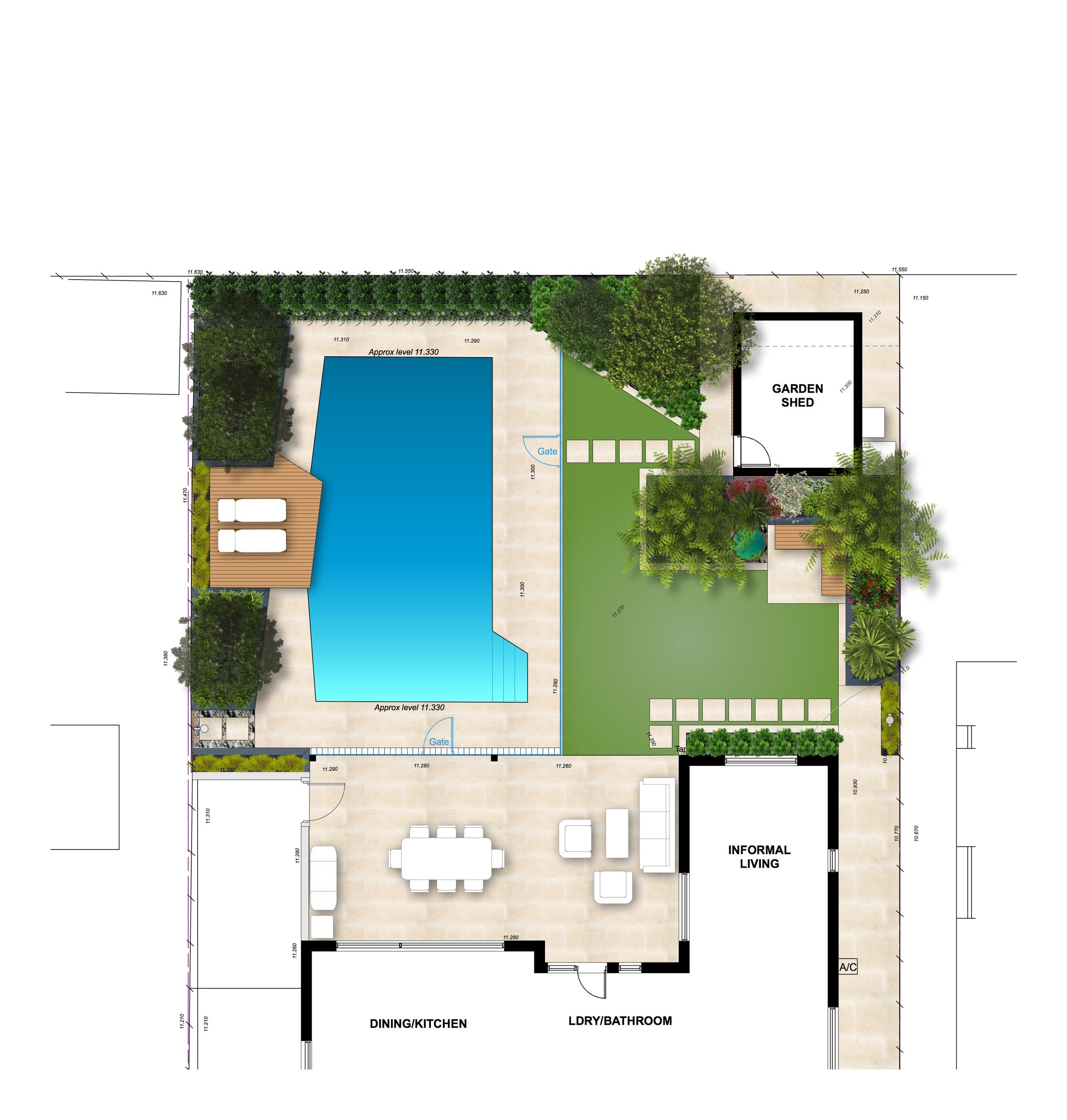 The angles of the existing swimming pool inform the layout of raised planters and the sun lounge deck, with new travertine paving, an outdoor rain shower and an intimate reading nook.