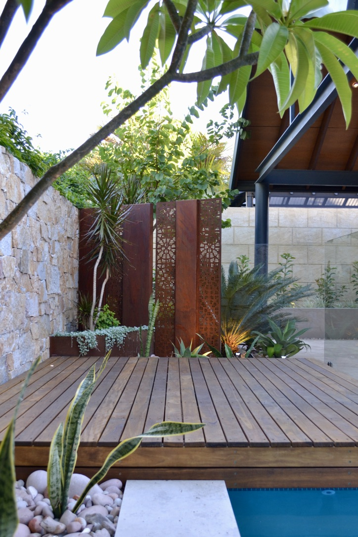 A spotted gum timber sun lounge deck overhangs the adjacent pool, with a corten steel and glass pool fence enclosing the space.