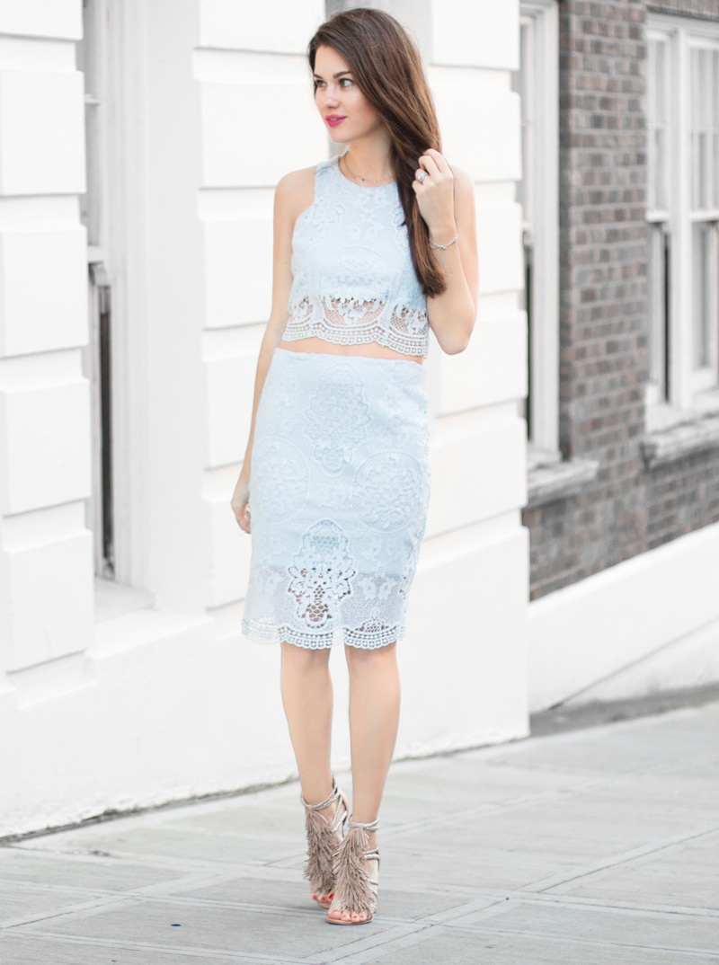 Embroidered Lace Pencil Skirt and Top