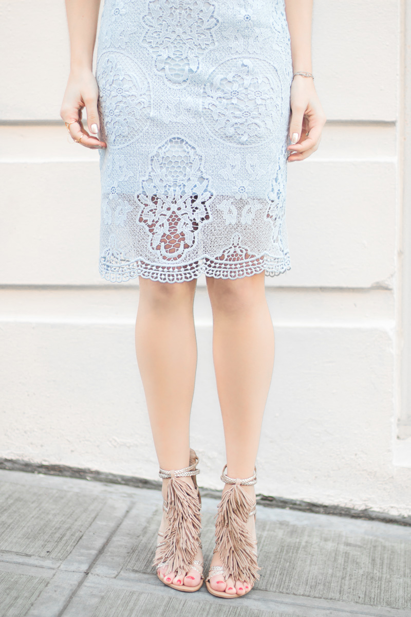 powder blue Embroidered Lace Pencil Skirt