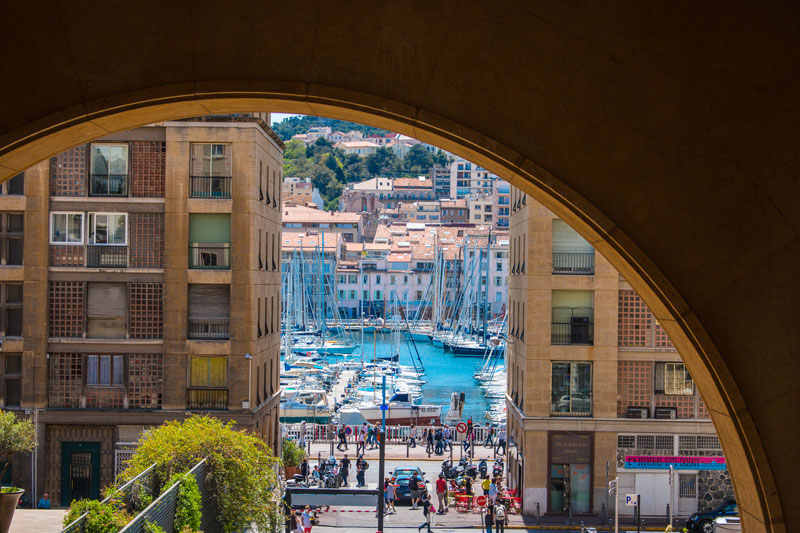 Harbor and City streets in Marseille France
