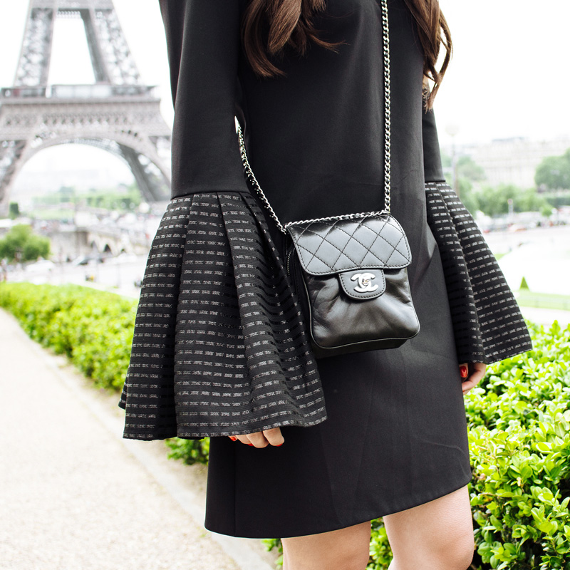 Haney Jean Dress Black Mini Dress with Bell Sleeves at the The Eiffel Tower Paris France