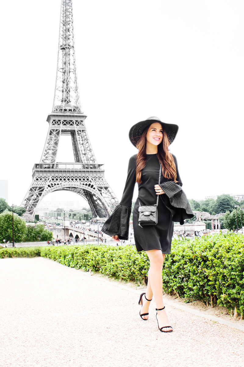 paris outfit ideas spring little black dress with bell sleeves The Eiffel Tower Paris France