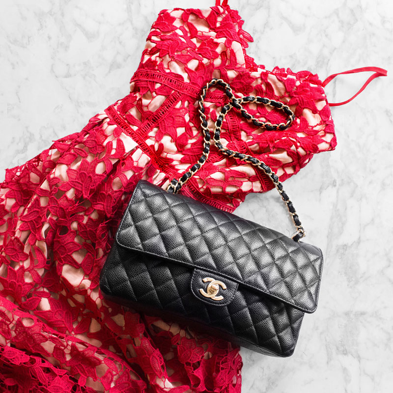 Red Spaghetti Strap Floral Crochet Hollow Dress, Chanel Black Medium Bag
