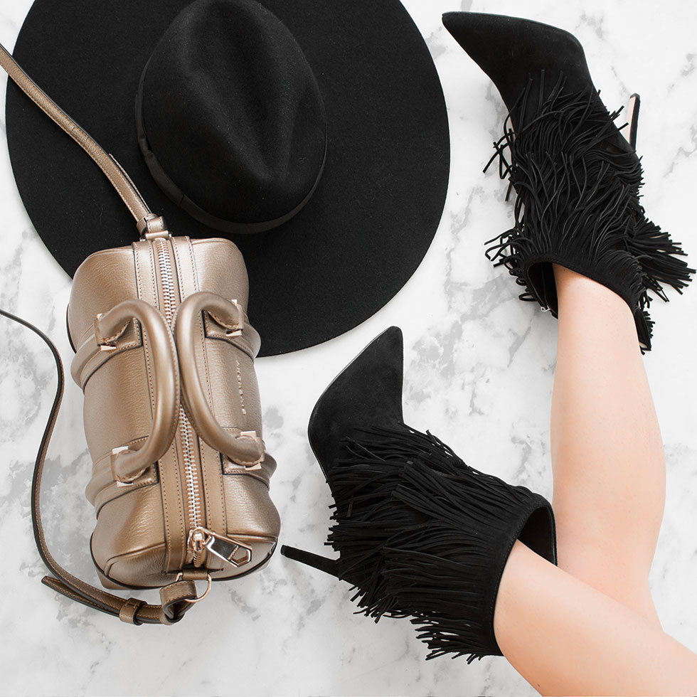 5 Fashionable Fall Items to Try Right Now Sam Edelman Belinda Fringed Suede Pointy Toe Boot Lack of Color Montana Fedora