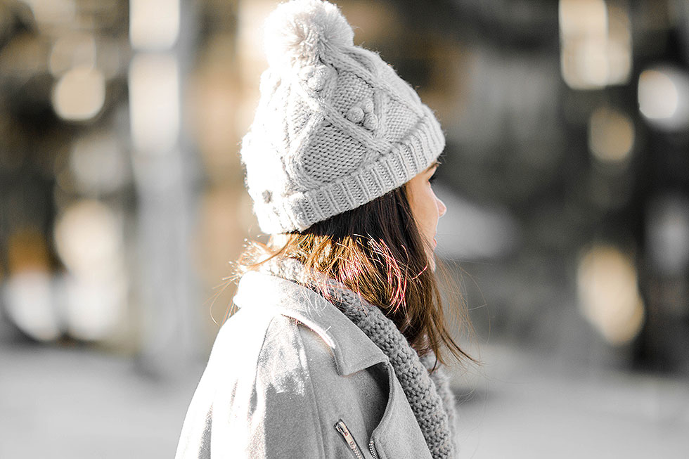 cold weather winter outfit whistler canada Target Knit Beanie Hat with Pom in Heather Grey