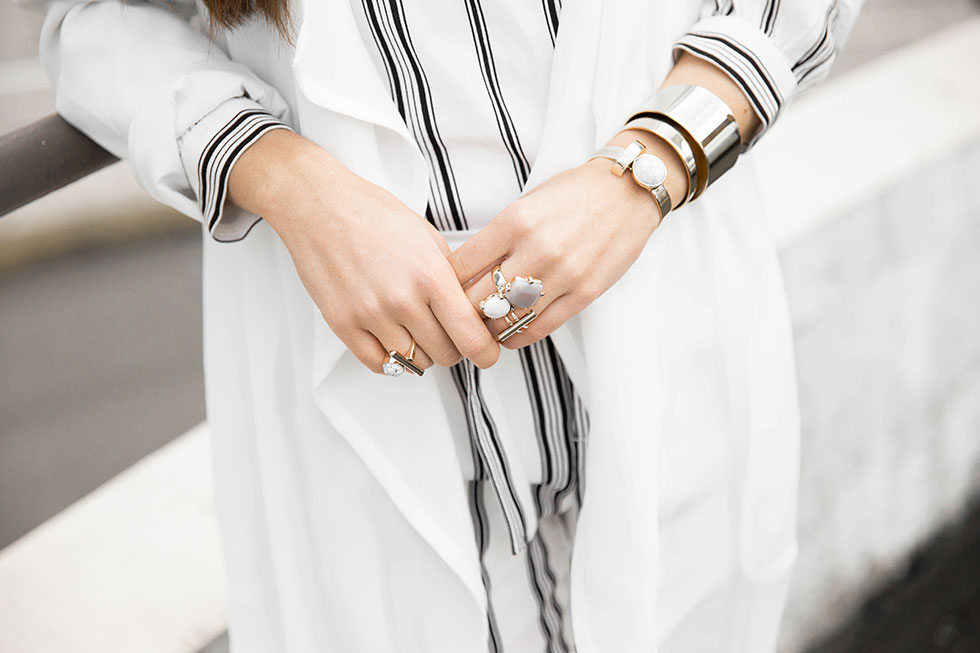 White Open Front Trench Coat, Sanctuary Striped Blouse, Sanctuary Striped Straight Leg Pants