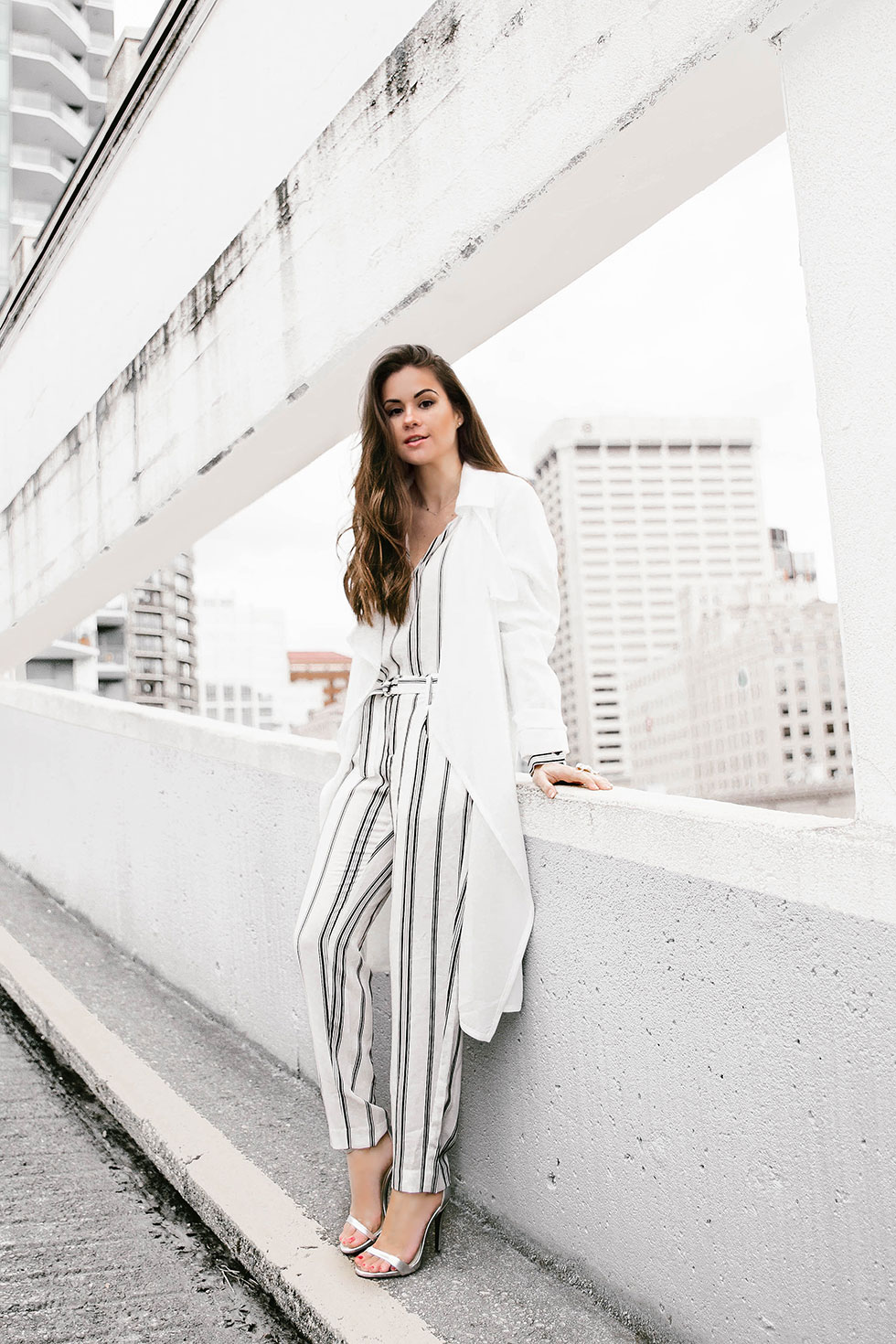 How to Wear Head-to-Toe Stripes this Spring - White Open Front Trench Coat, Sanctuary Striped Blouse, Sanctuary Striped Straight Leg Pants Seattle Fashion Blogger
