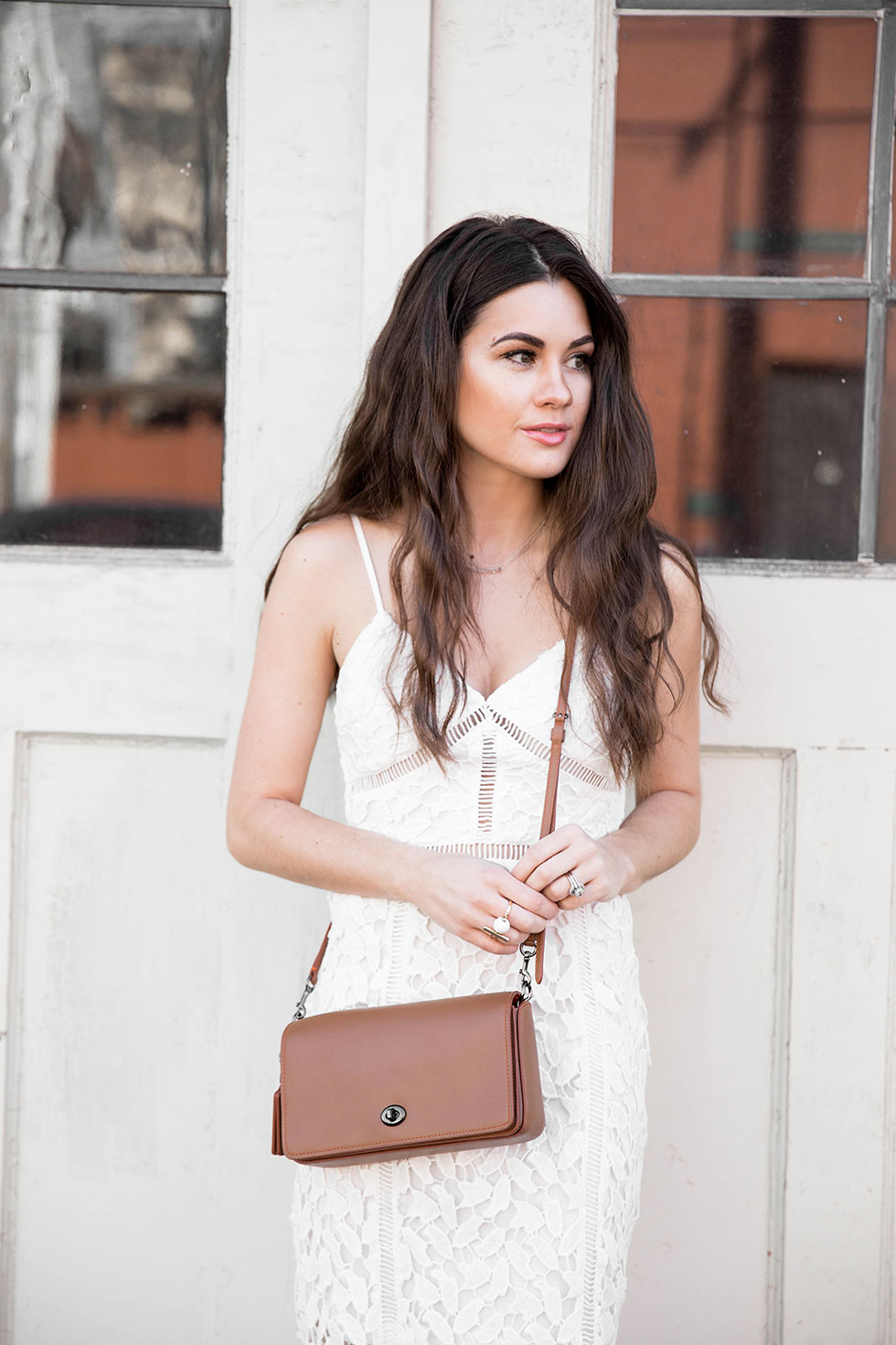 White Lace Midi Dress, Coach Dinky Crossbody in Glovetanned Leather Spring Outfit
