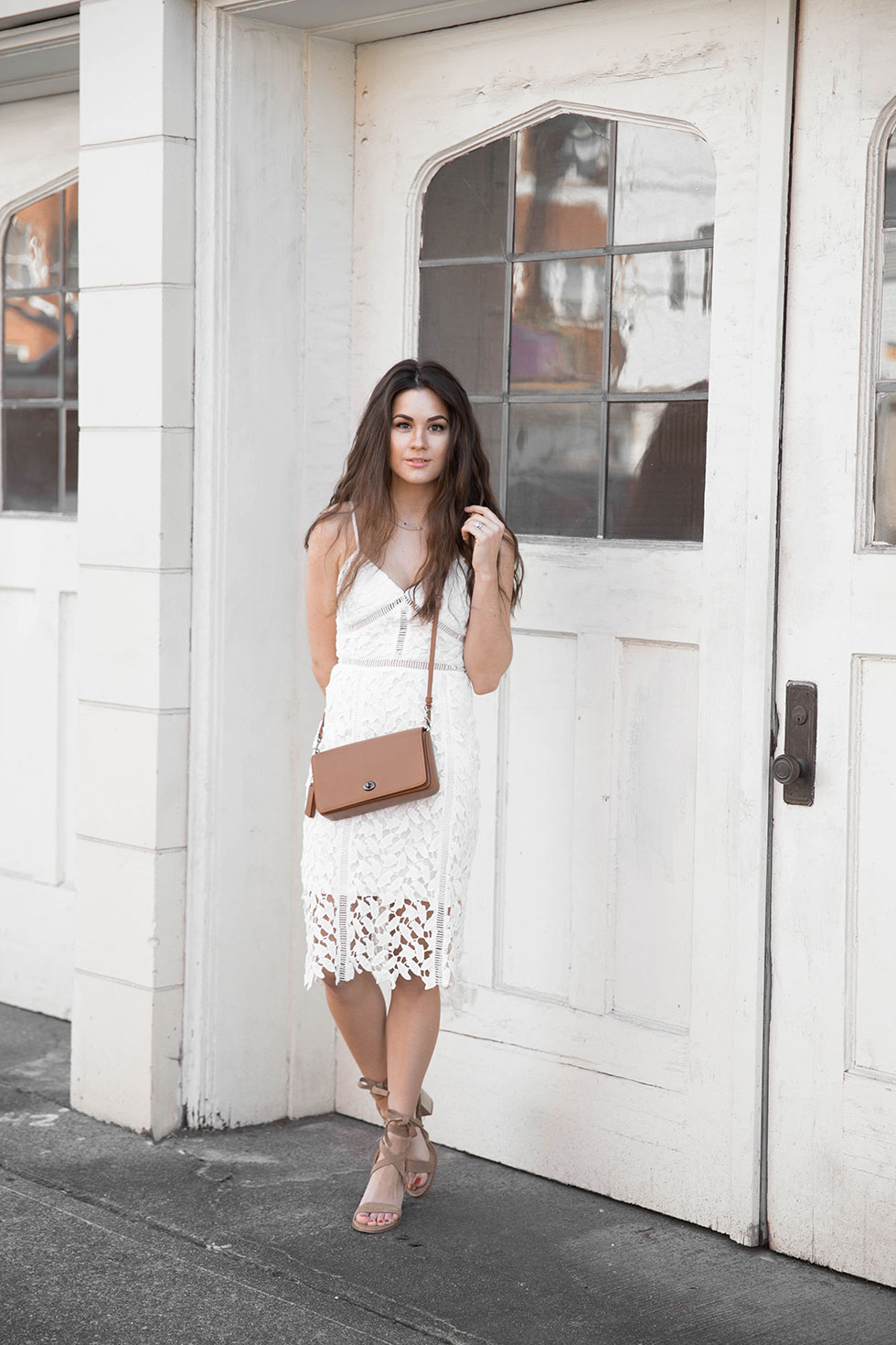 White Lace Midi Dress, Coach Dinky Crossbody in Glovetanned Leather, Chinese Laundry Wraparound Ankle Strap Sandal Spring Outfit