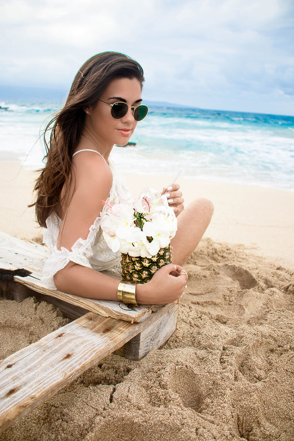 Lovers + Friends White Cold-Shoulder Ruffle-Trim Romper Maui Hawaii Beach Pineapple Cocktail
