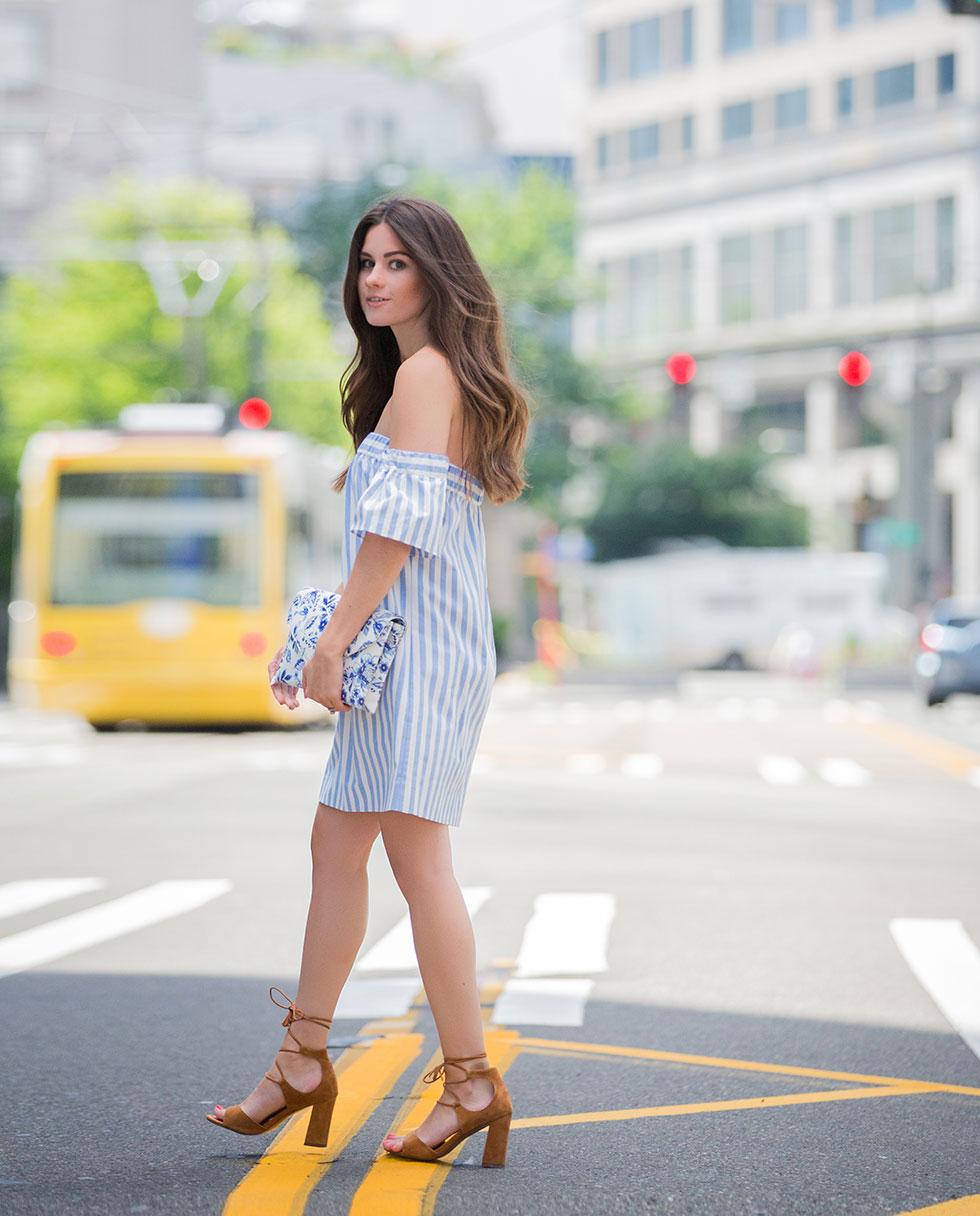 Milly Women's Breton Stripe Off-The-Shoulder Dress