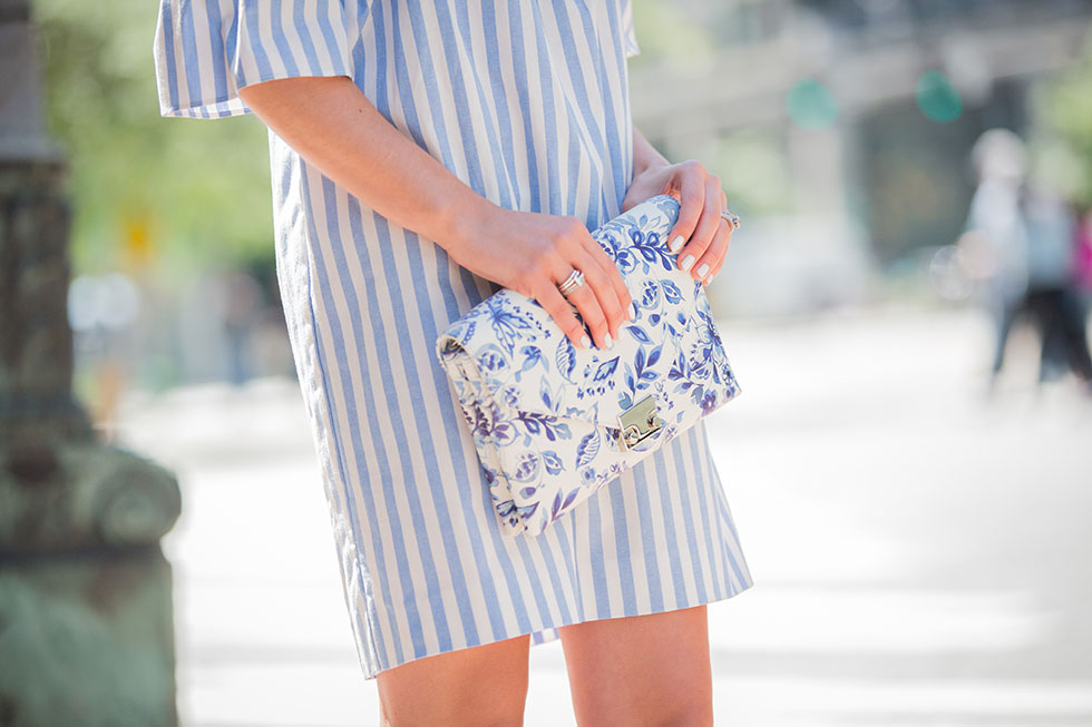 LOEFFLER RANDALL Lock Printed-Leather Clutch and Milly Women's Breton Stripe Off-The-Shoulder Dress