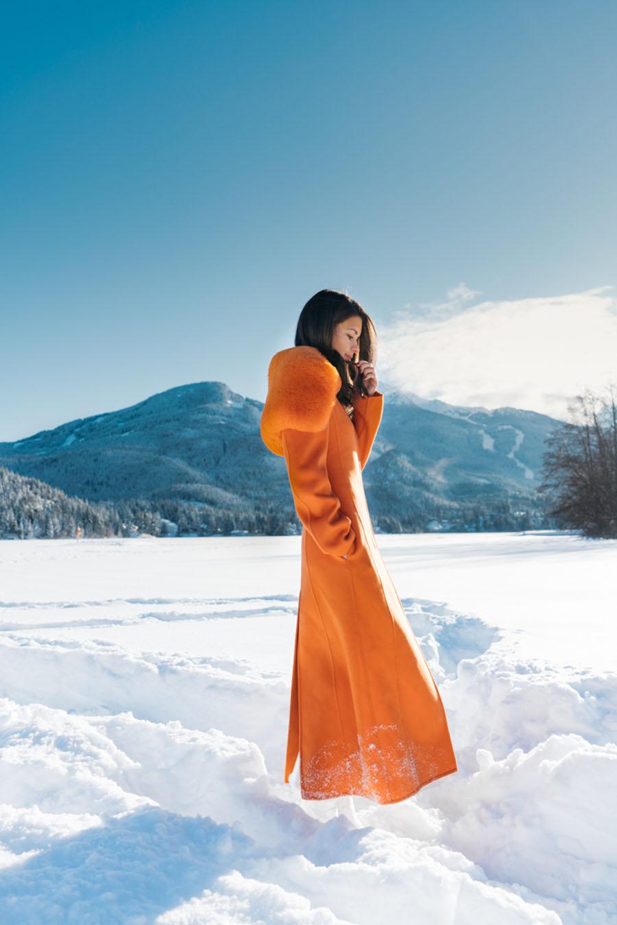 Salvatore Ferragamo Padded Wool Blend Coat in Orange Whistler Snow Outfit DSC07464-Edit.jpg