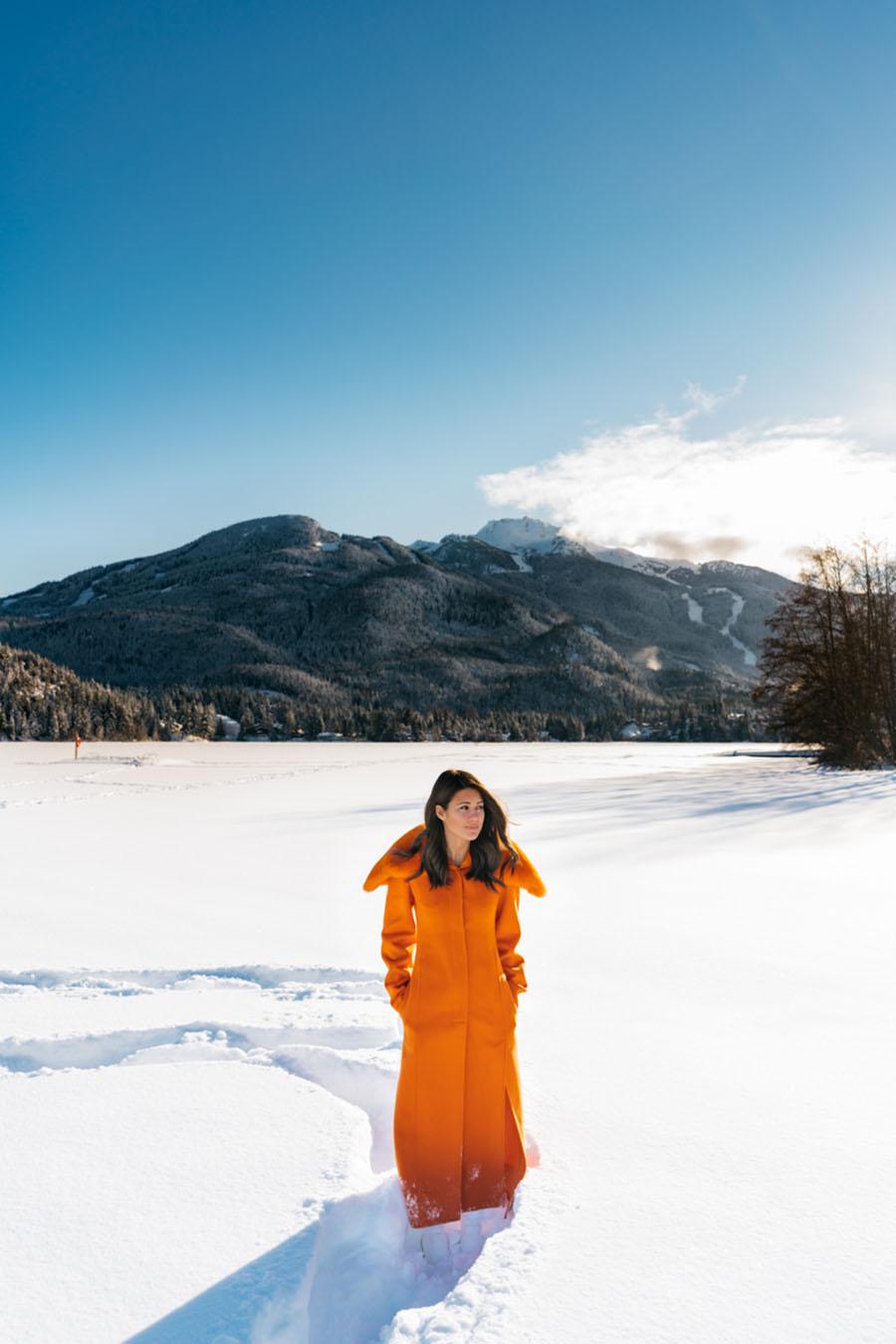 Salvatore Ferragamo Padded Wool Blend Coat in Orange Whistler Snow Outfit DSC07446.jpg