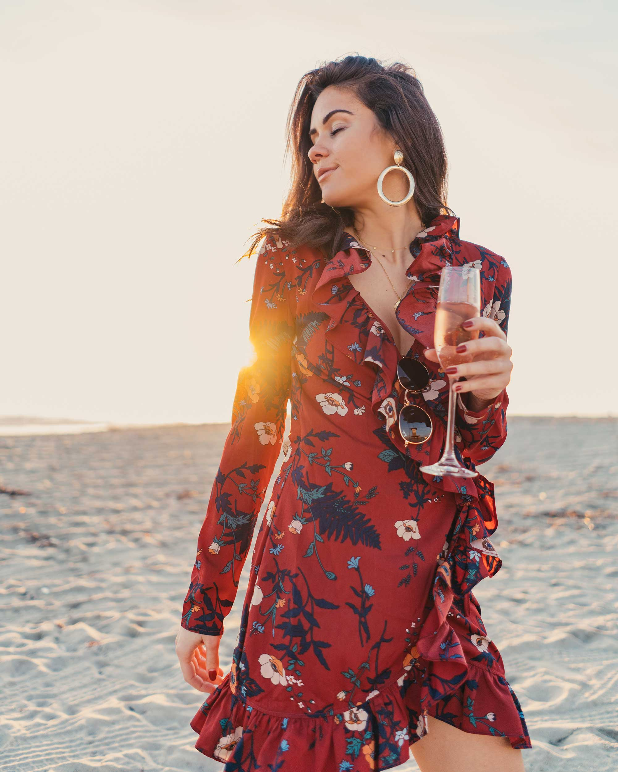 BURGUNDY-FLORAL-FRILL-WRAP-MINI-DRESS-Newport-Beach-California-Summer-Dress-5.jpg