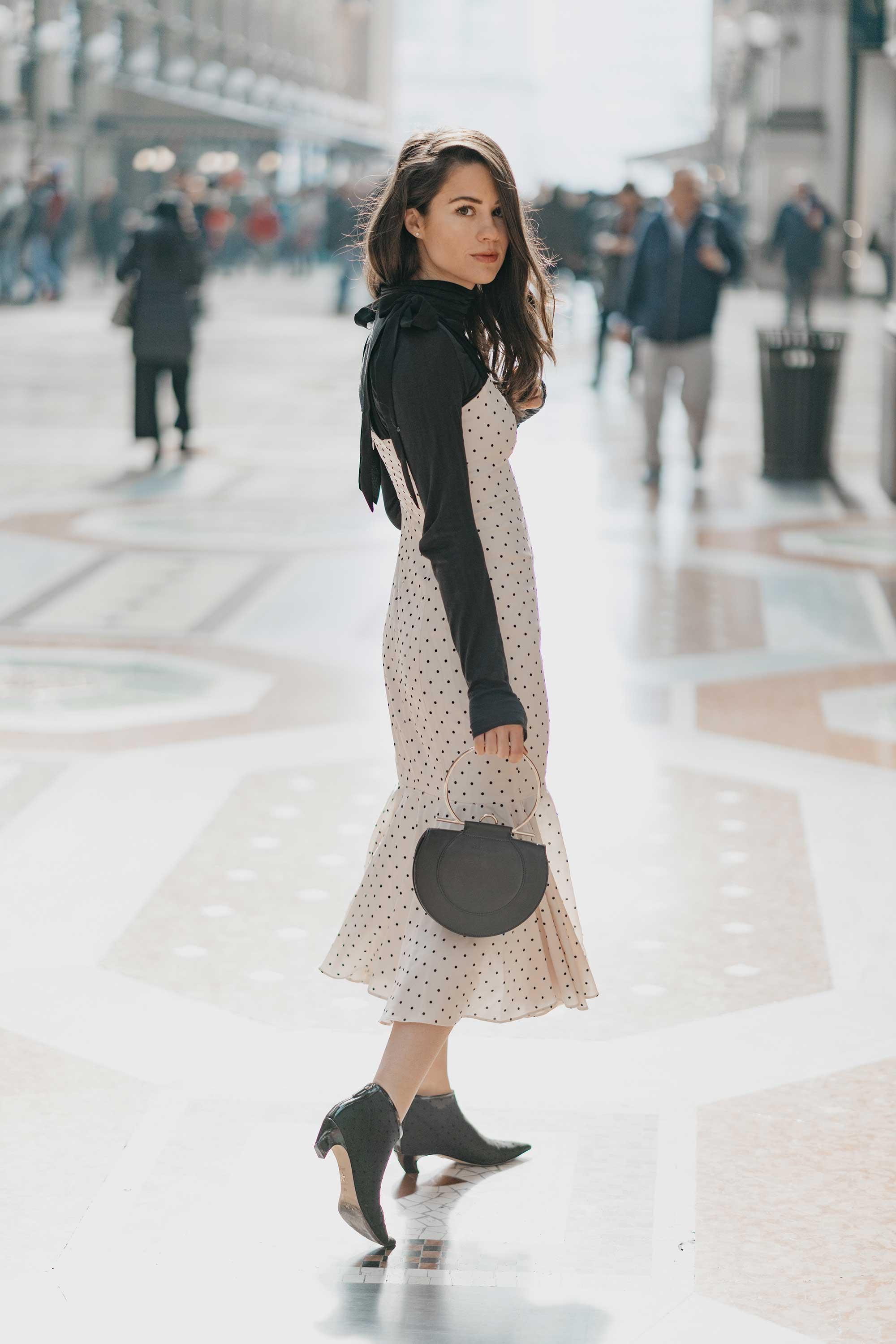 Revolve Mia Midi Polka Dot Dress in Ivory & Black Milan Outfit12.jpg