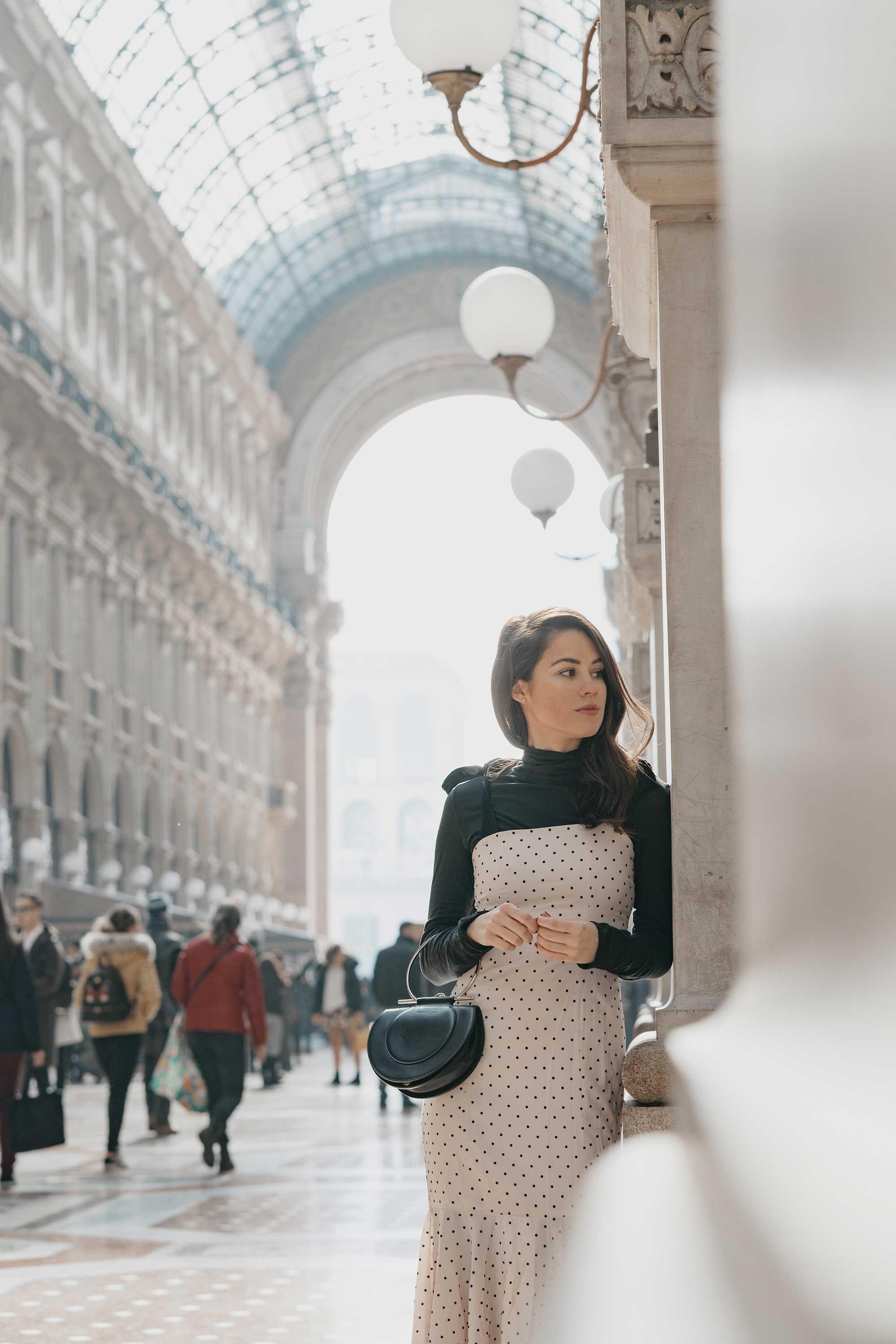 Revolve Mia Midi Polka Dot Dress in Ivory & Black Milan Outfit16.jpg