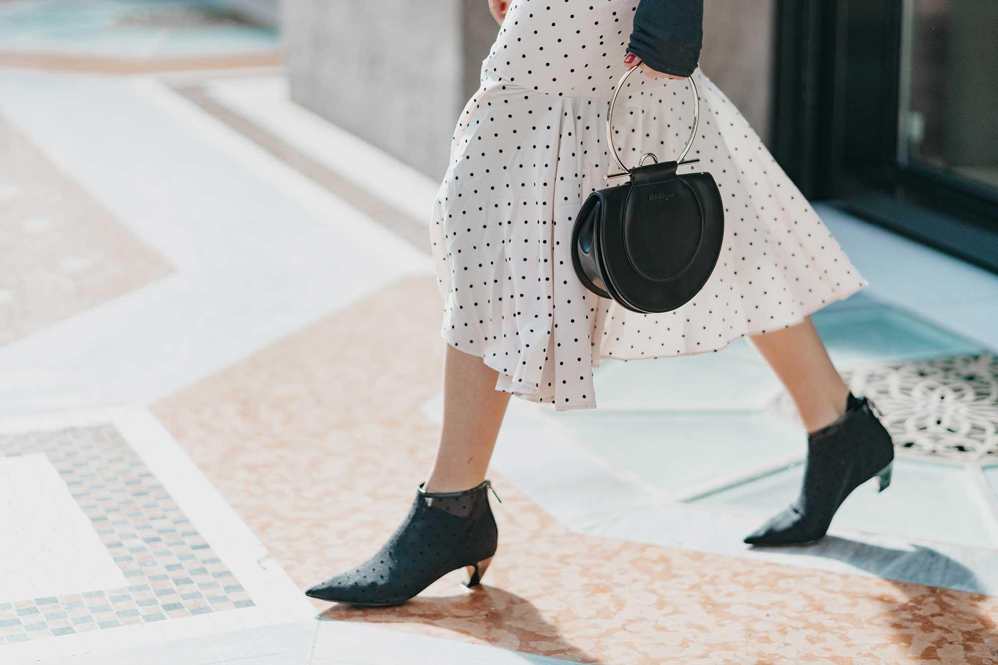 Revolve Mia Midi Polka Dot Dress in Ivory & Black Milan Outfit18.jpg