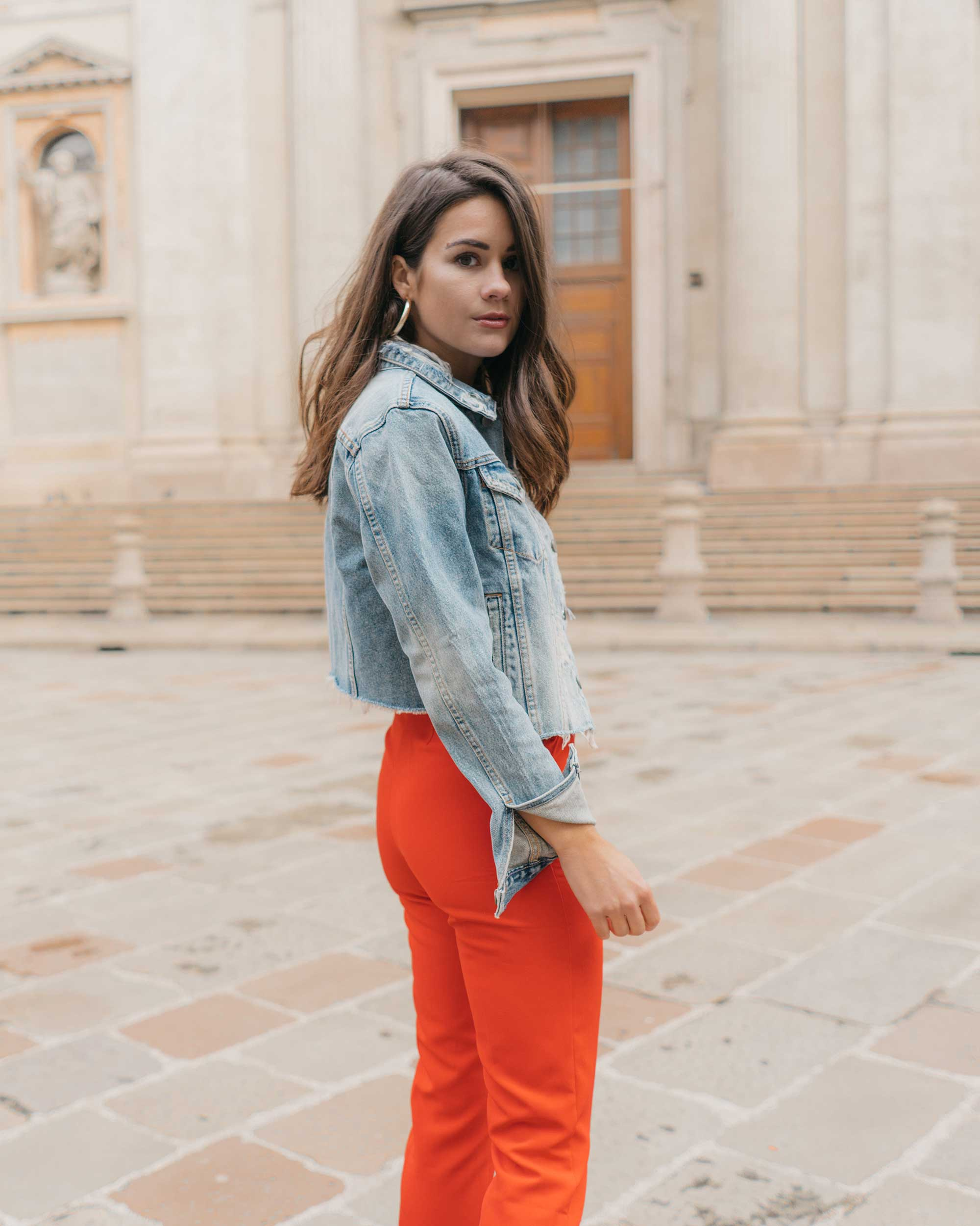 Red-Skinny-Pants,-All-You-Need-Is-Love'-Slogan-T-Shirt,-Cara-Cropped-Denim-Jacket,-Milan-Spring-Outfit6.jpg