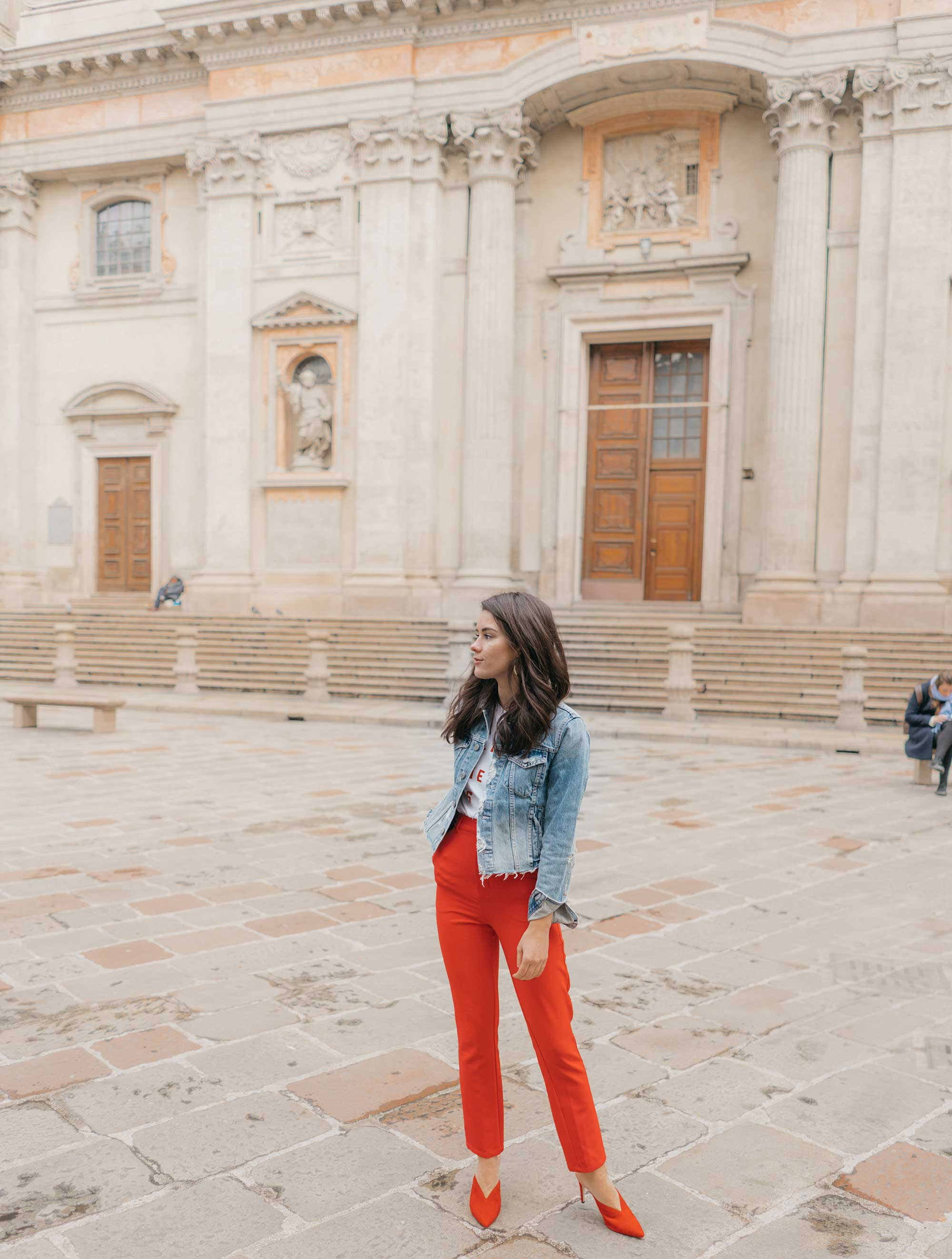 Red-Skinny-Pants,-All-You-Need-Is-Love'-Slogan-T-Shirt,-Cara-Cropped-Denim-Jacket,-Milan-Spring-Outfit4.jpg