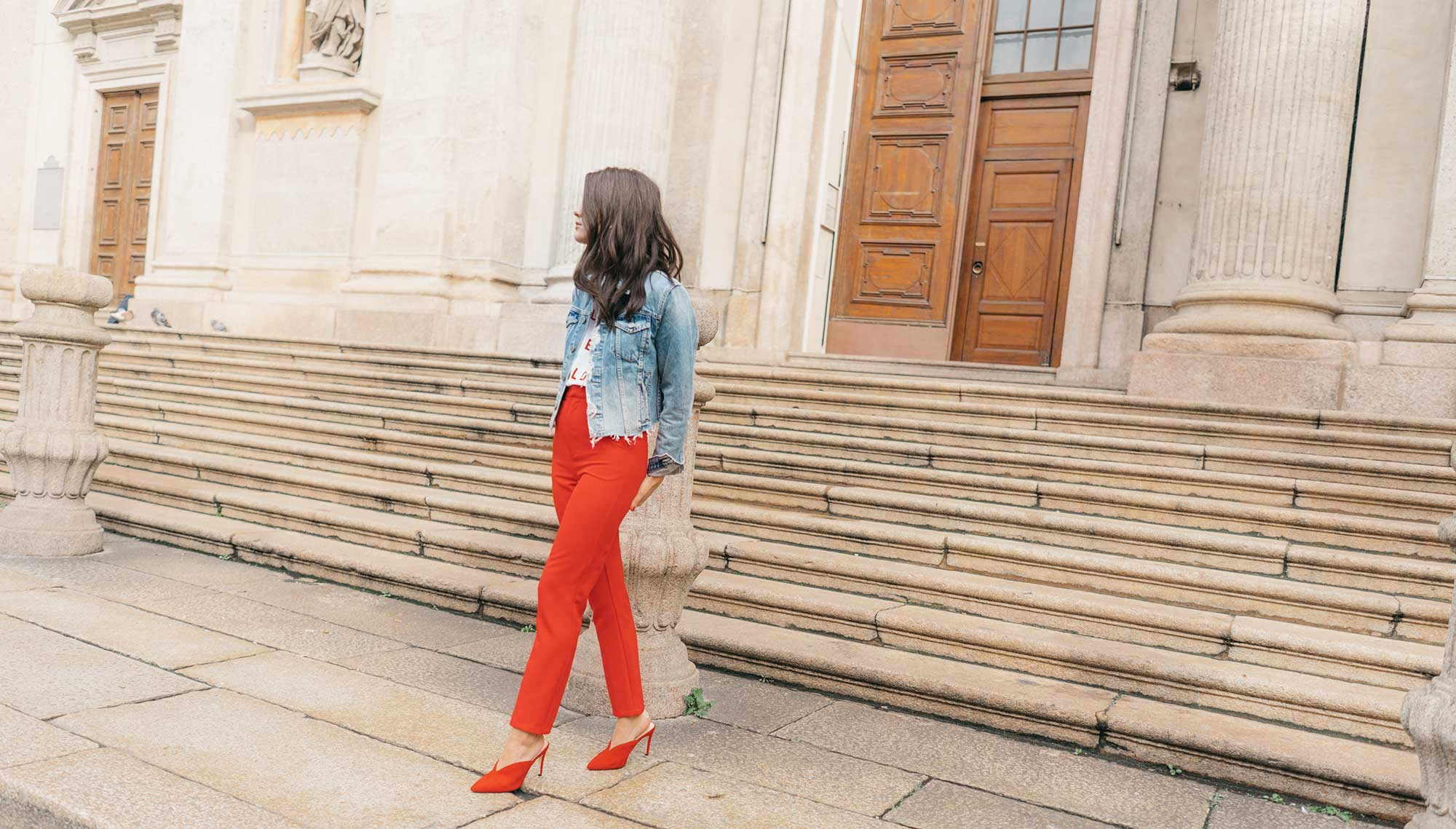 Red-Skinny-Pants,-All-You-Need-Is-Love'-Slogan-T-Shirt,-Cara-Cropped-Denim-Jacket,-Milan-Spring-Outfit11.jpg
