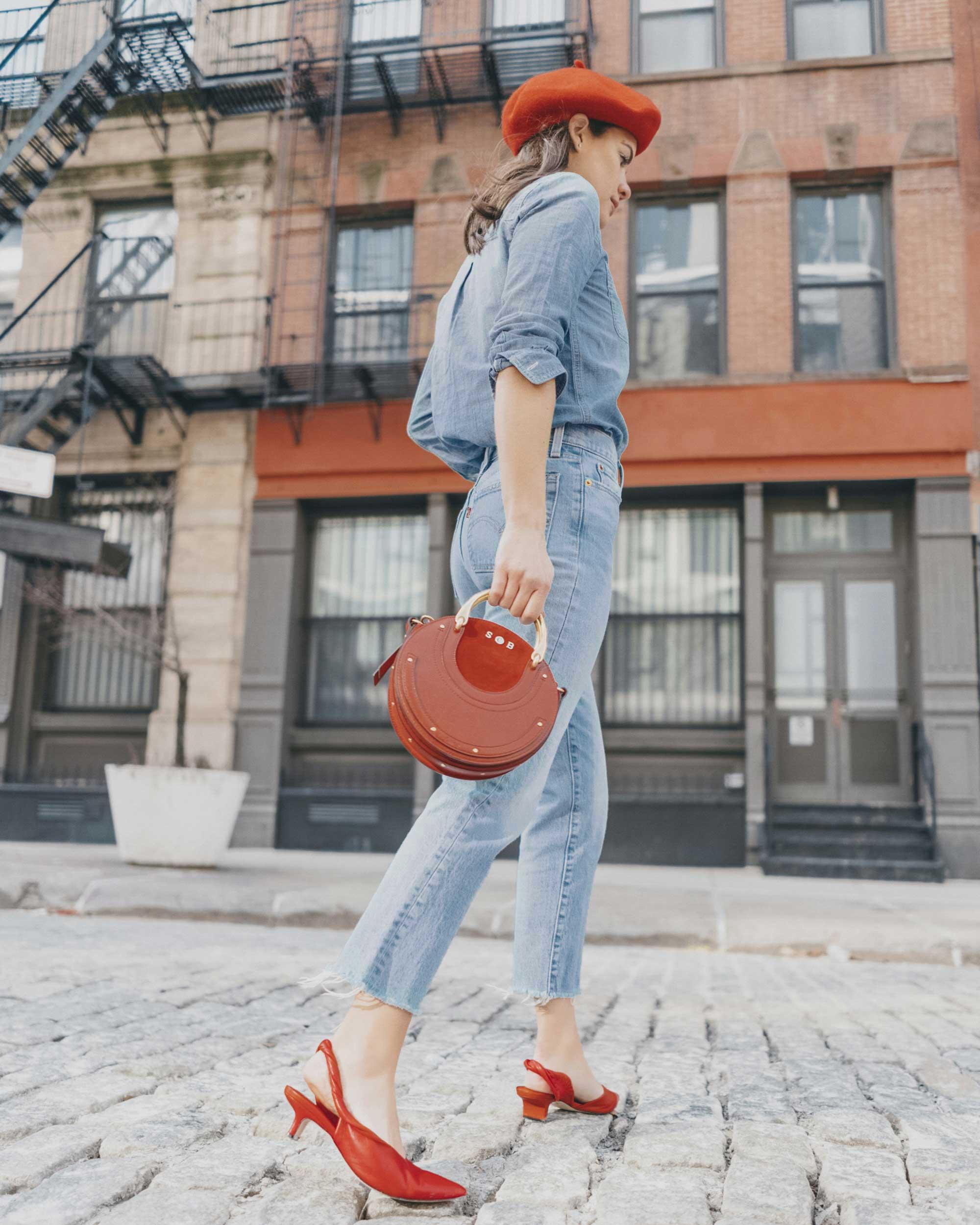 Madewell Chambray Boyfriend Shirt  Levi's Wedgie High-Rise Straight Jeans Chloe Pixie Leather Crossbody Bag.jpg