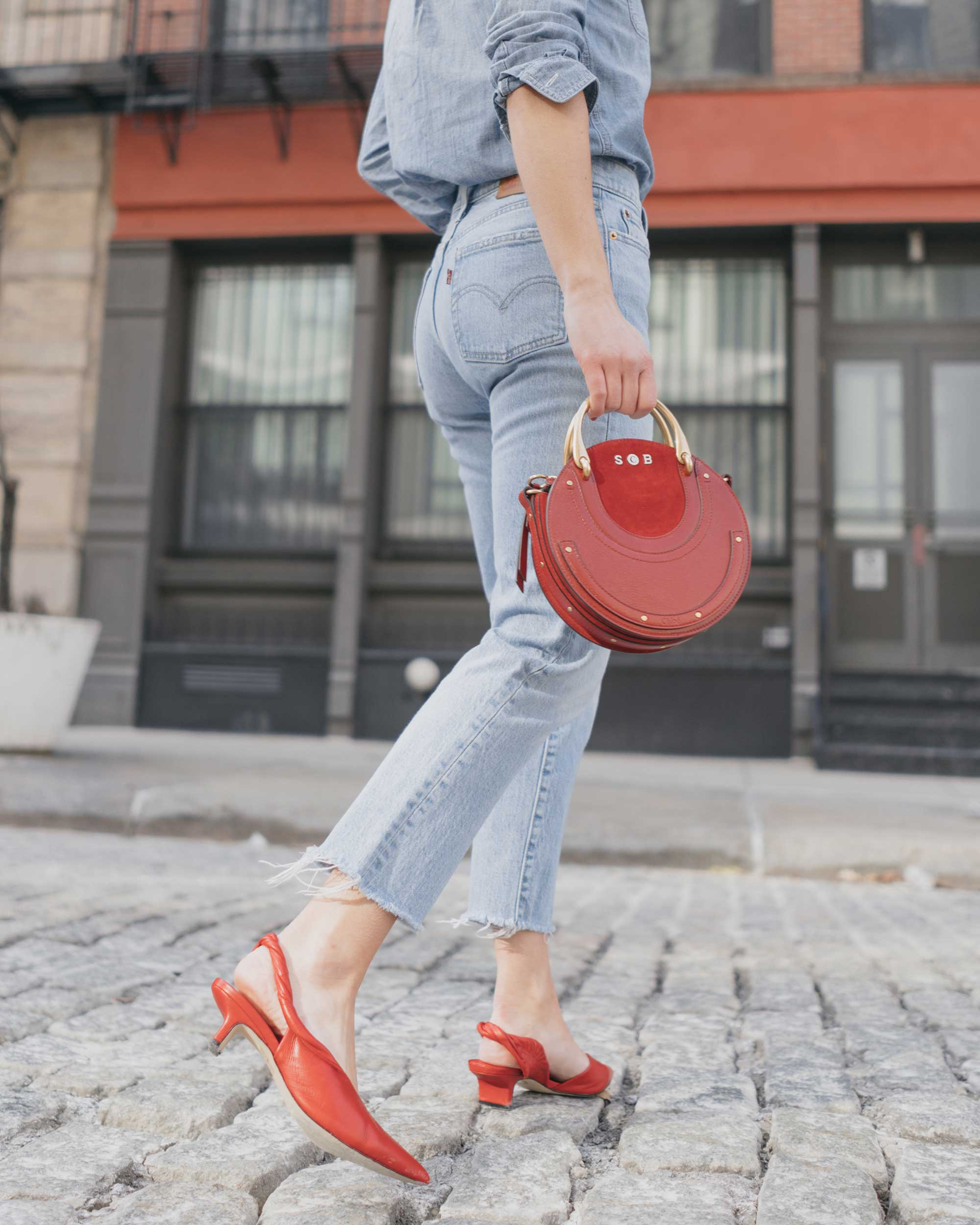 Madewell-Chambray-Boyfriend-Shirt--Levi's-Wedgie-High-Rise-Straight-Jeans-Chloe-Pixie-Leather-Crossbody-Bag-Sigerson-Morrison-Red-Slingback-Pump-7.jpg