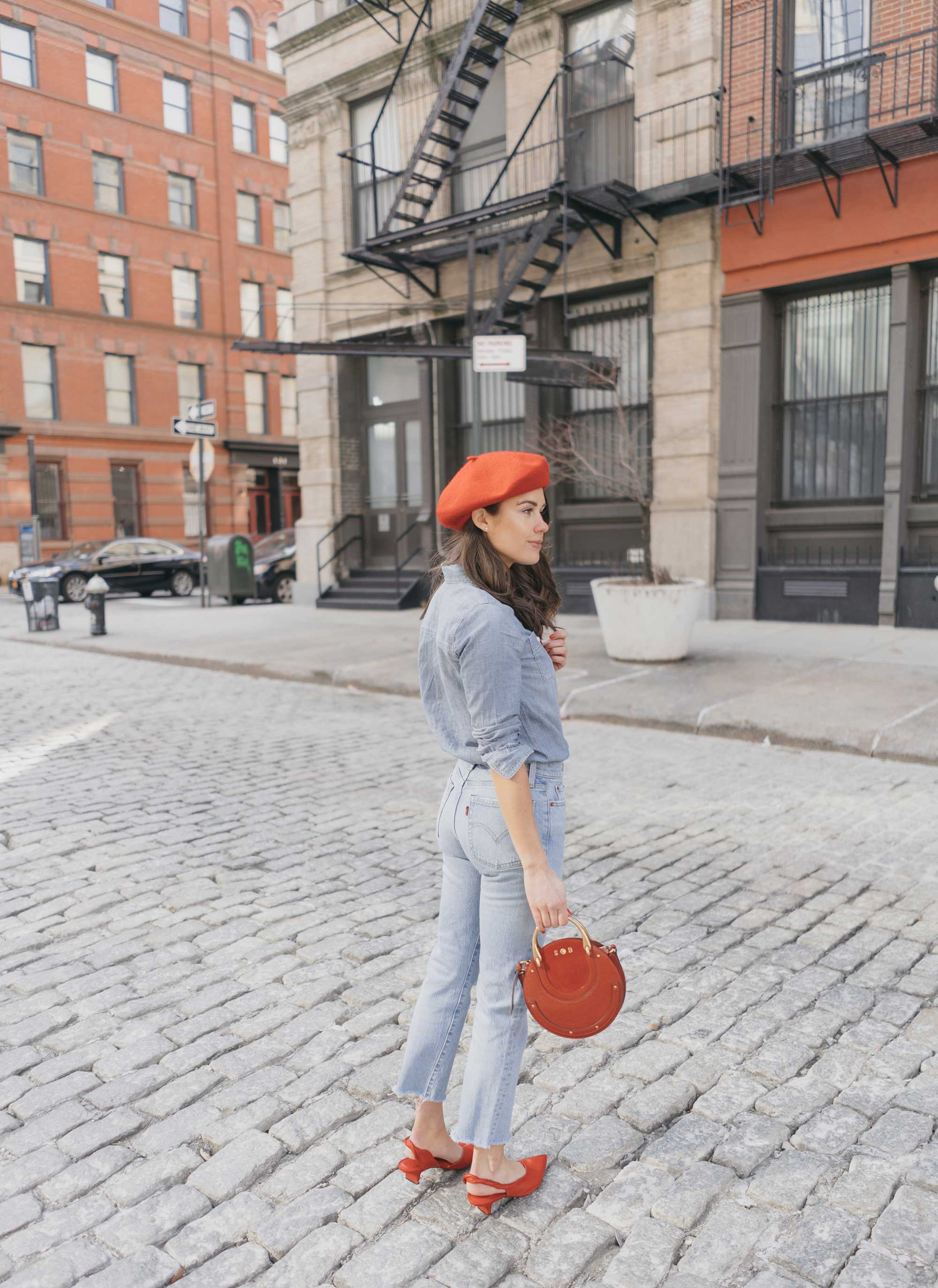 Madewell-Chambray-Boyfriend-Shirt--Levi's-Wedgie-High-Rise-Straight-Jeans-Chloe-Pixie-Leather-Crossbody-Bag-Sigerson-Morrison-Red-Slingback-Pump-6.jpg